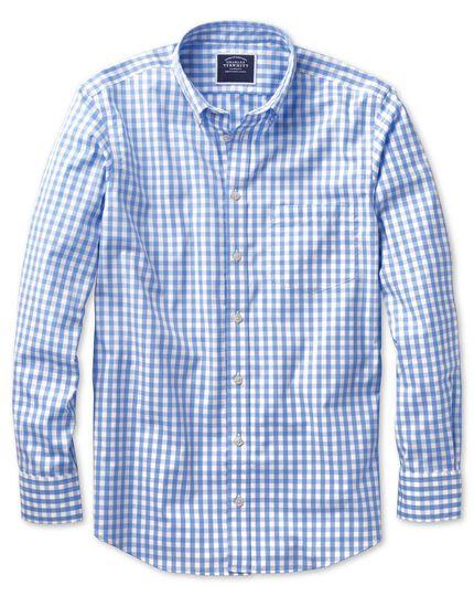 Slim fit non-iron poplin sky blue gingham shirt
