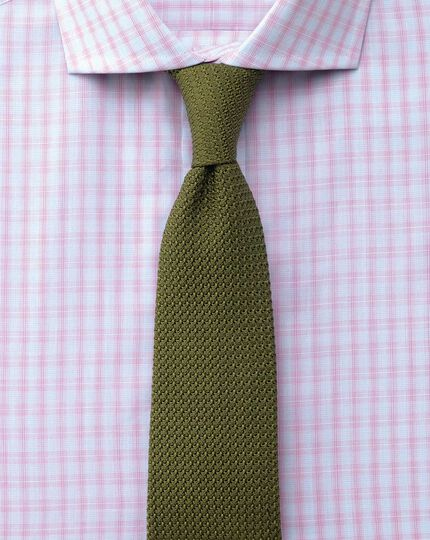 Slim fit cutaway collar Egyptian cotton compact check pink shirt