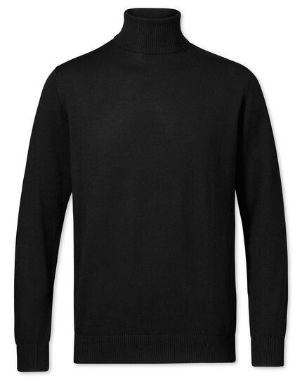 Black merino wool roll neck sweater