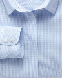 Women's semi-fitted non-iron cotton puppytooth sky shirt