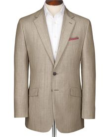 Stone classic fit Abercorn wool linen suit jacket
