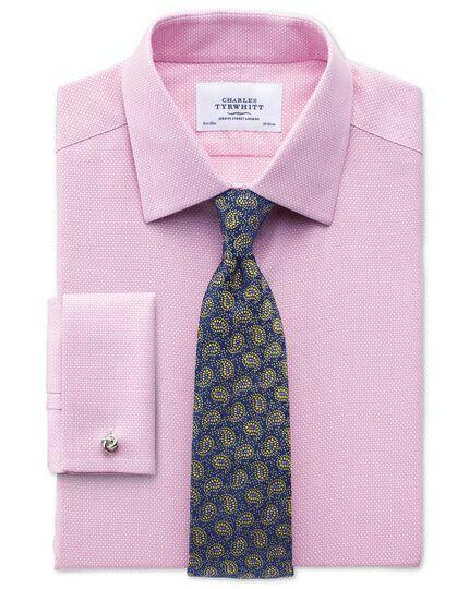 Bügelfreies Classic Fit Hemd in Rosa mit Waffelmuster