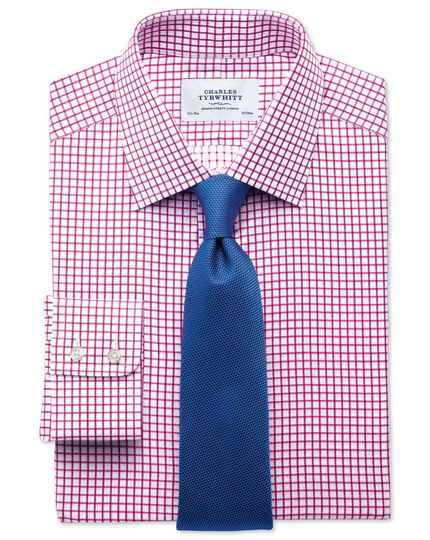 Slim fit twill grid check fuchsia shirt
