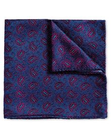 Blue and berry vintage paisley luxury pocket square