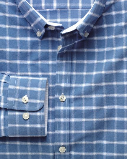 Extra slim fit blue and white check washed Oxford shirt