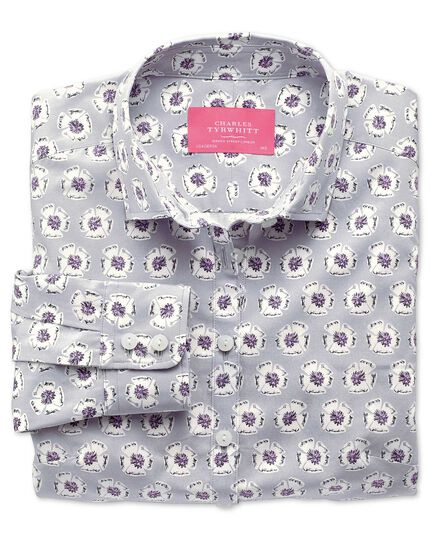 Women's semi-fitted light grey abstract floral print shirt