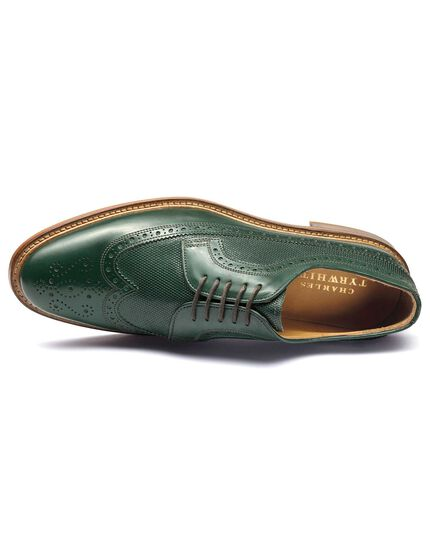 Green Eastcott wing tip brogue Derby shoes