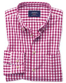 Slim fit non-iron poplin red gingham shirt
