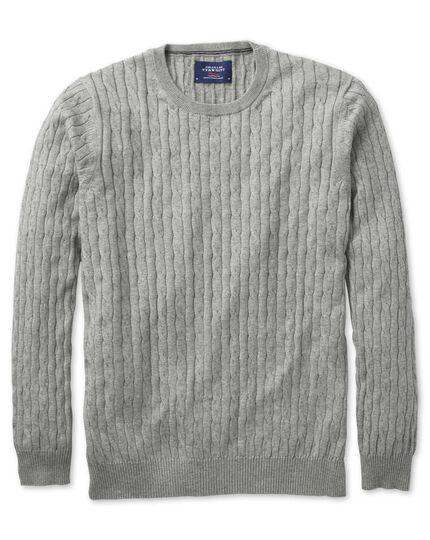 Light grey cotton cashmere cable crew neck jumper