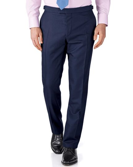 Navy slim fit British Panama luxury suit trousers