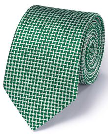 Green silk classic diamond lattice tie