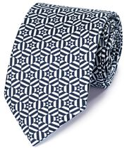 Navy and white silk printed geometric English luxury tie