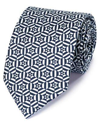 Luxuriöse englische Seidenkrawatte in Marineblau und Weiß mit geometrischem Print