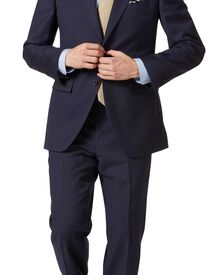 Classic Fit Businessanzug aus Twill in marineblau