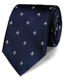 Navy and white silk classic Fleur-de-Lys tie