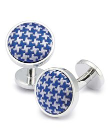 Royal and white puppytooth silk cufflink