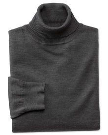 Charcoal merino wool roll neck sweater