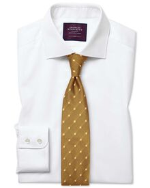 Slim fit semi-spread collar luxury twill white shirt