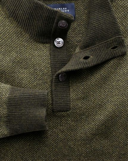 Khaki jacquard button neck sweater
