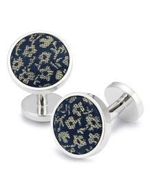 Navy and gold floral silk cufflink