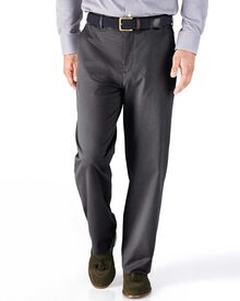 Charcoal classic fit stretch cavalry twill chinos