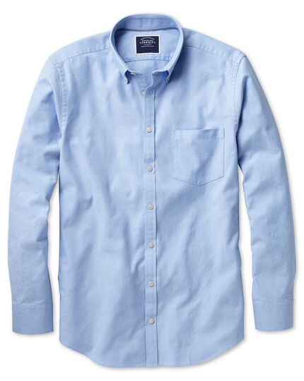 Slim fit sky blue plain washed Oxford shirt