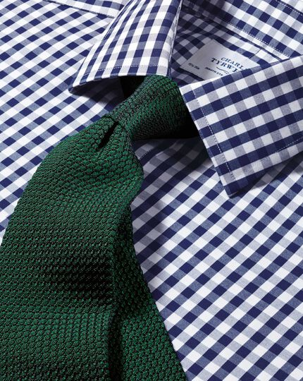 Slim fit non-iron Oxford gingham navy shirt
