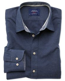 Slim fit popover navy blue shirt