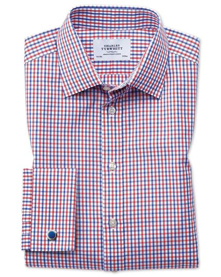 Extra slim fit two colour check red & blue shirt