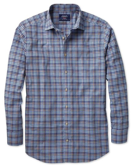 Classic fit blue and navy check heather shirt