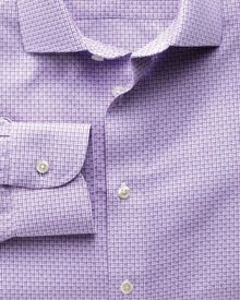 Slim fit semi-cutaway collar non-iron business casual grid check lilac shirt