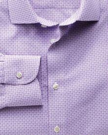 Slim fit semi-spread collar non-iron business casual grid check lilac shirt