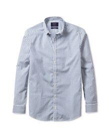 Extra slim fit non-iron poplin blue stripe shirt