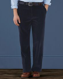 Navy classic fit cord trousers