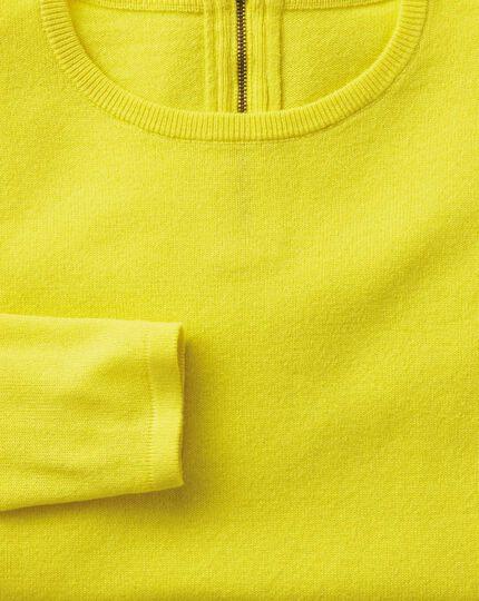 Yellow merino cashmere zip back jumper