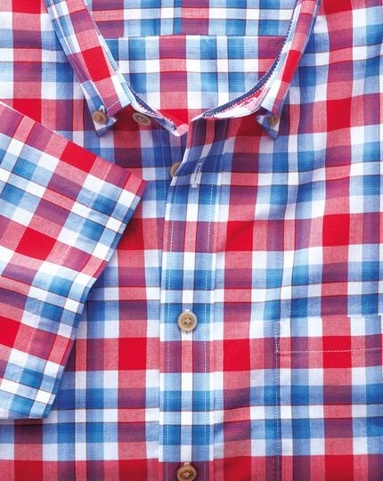Classic fit poplin short sleeve sky blue and red check shirt