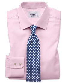 Extra slim fit Egyptian cotton cavalry twill light pink shirt