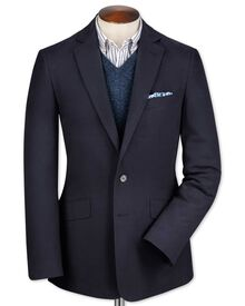 Classic fit navy cotton flannel jacket