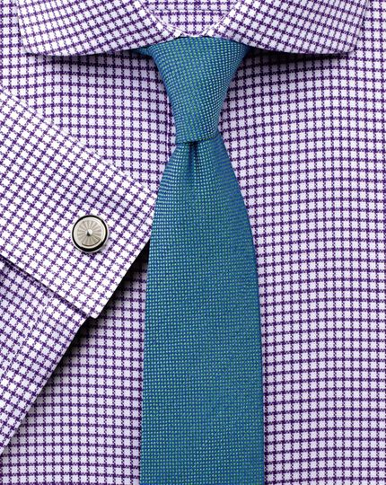 Extra slim fit non-iron cutaway collar basketweave check purple shirt