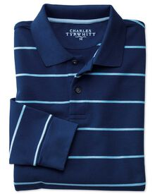 Blue and sky stripe pique long sleeve polo