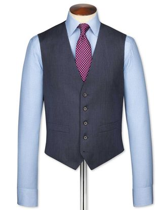 Airforce blue twill business suit waistcoat
