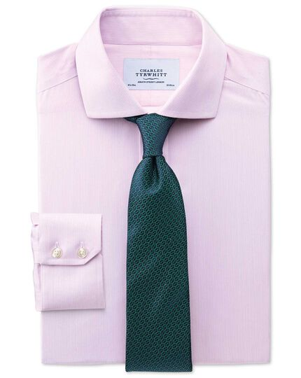 Slim fit spread collar non-iron mouline stripe pink shirt