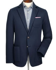 Navy slim fit jersey unstructured jacket