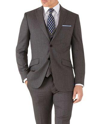 Veste de costume business moka slim fit avec revers en pointe et motif milleraies
