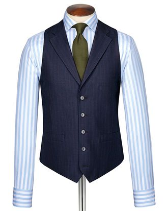 Blue Panama business suit waistcoat