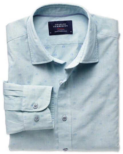 Classic fit green and blue poplin dobby spot shirt