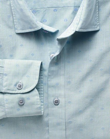 Slim fit green and blue poplin dobby spot shirt