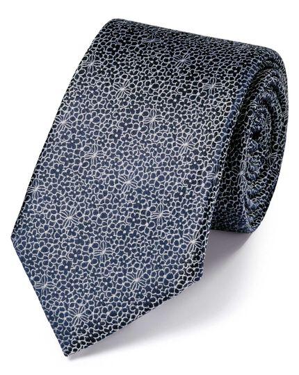 Slim navy silk floral classic tie