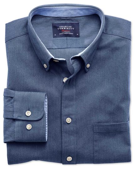 Extra slim fit blue washed Oxford shirt