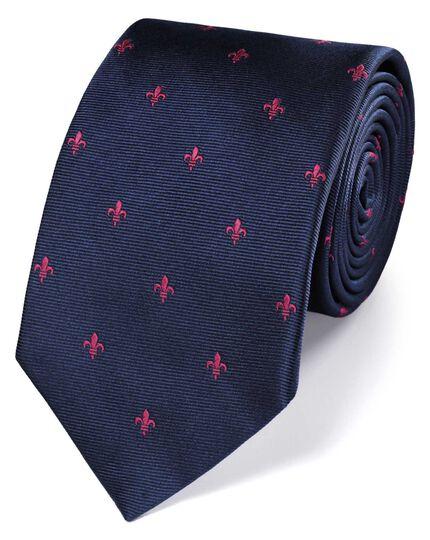 Navy and pink silk Fleur-de-Lys classic tie
